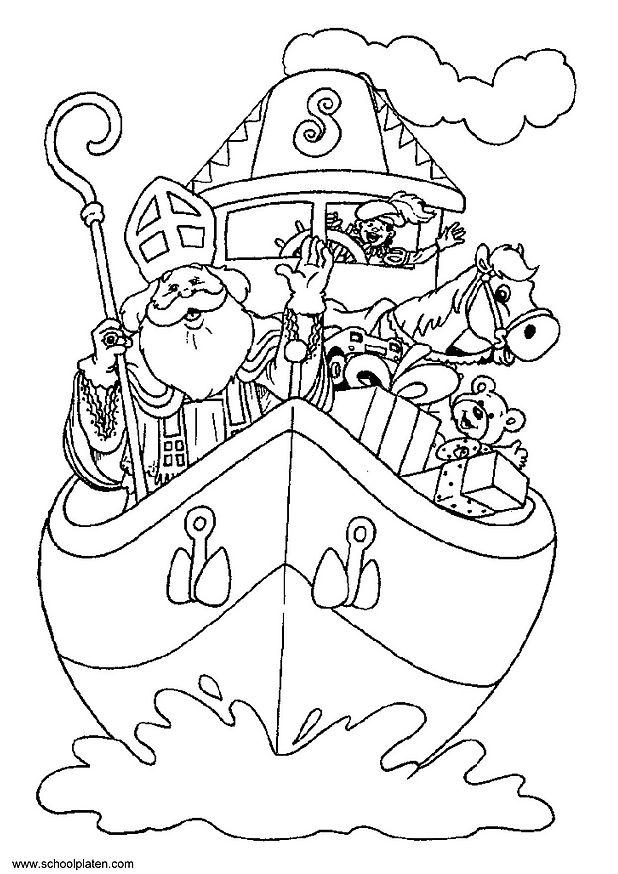 Kleurplaten Sinterklaas Babypiet.Knutselen Stoomboot