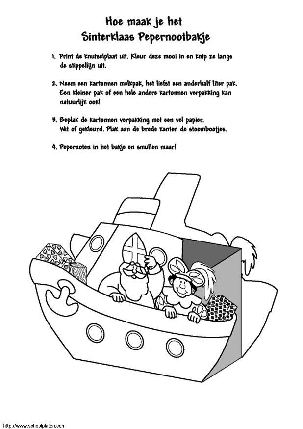 Knutsel Kleurplaten Sinterklaas.Knutselen Stoomboot